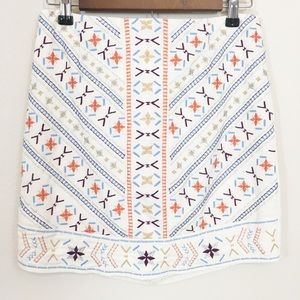Dina Be White Embroidered Mini Skirt